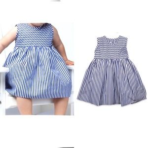 Baby CZ Striped Pintuck Sleeveless Fit Flare Dress